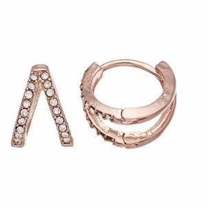 LC LAUREN CONRAD Gold Huggie Hoop Earrings NWT